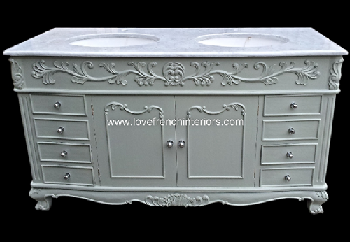 Bespoke Double Bowl French Vanity Unit with Solid Marble Top